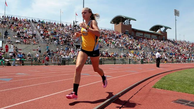 Hannah Campbell of River Valley wins the 3,200-meter run at the State Track and Field Championships at the Jesse Owens Memorial Stadium in 2014 She is the last athlete from Marion County to win a state title in track.