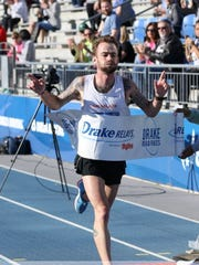 Zach Baker, winning the Drake Relays Road Races Half