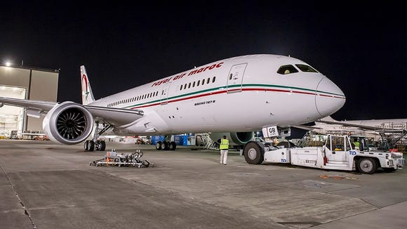 Royal Air Maroc's first Boeing 787 is seen at Boeing's