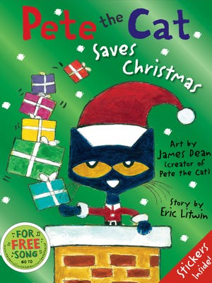 """""""Pete the Cat Saves Christmas,""""created and illustrated by James Dean and story by Eric Litwin."""