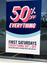 The first Saturday of the month is a 50% off Everything Day at area Goodwill stores.