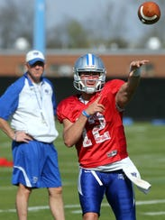MTSU quarterback Brent Stockstill throws a pass Tuesday,