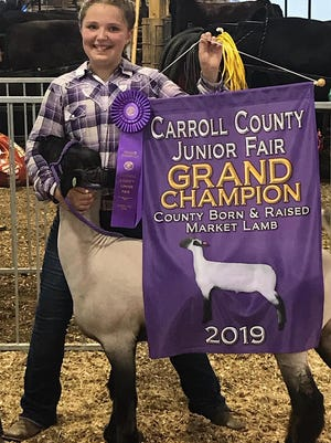 Grace Angione of the Freedom Riders 4-H Club won the Carroll County Junior Fair Grand Champion in county born and raised market lamb in 2019. She is the daughter of Kerry and Dave Angione.