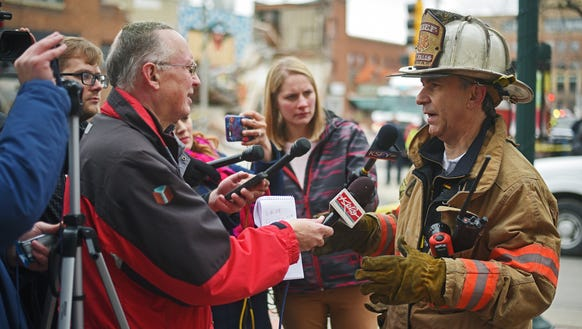 Sioux Falls Fire Chief Jim Sideras speaks to the media