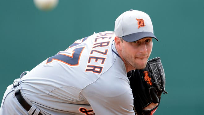 Detroit Tigers starting pitcher Max Scherzer delivers against the Washington Nationals.