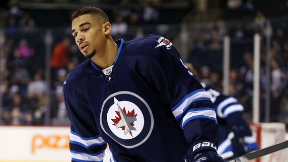 Former Winnipeg Jets forward Evander Kane prior to a game against the Arizona Coyotes.
