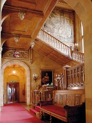 "The oak staircase of Highclere Castle, in front of which many scenes of the six-season ""Downton Abbey"" took place."