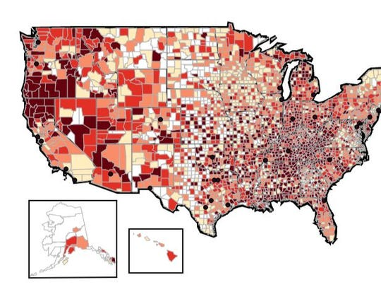 Prescribing rates by county, 2012