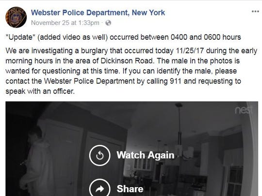 Webster police posted video from surveillance of an