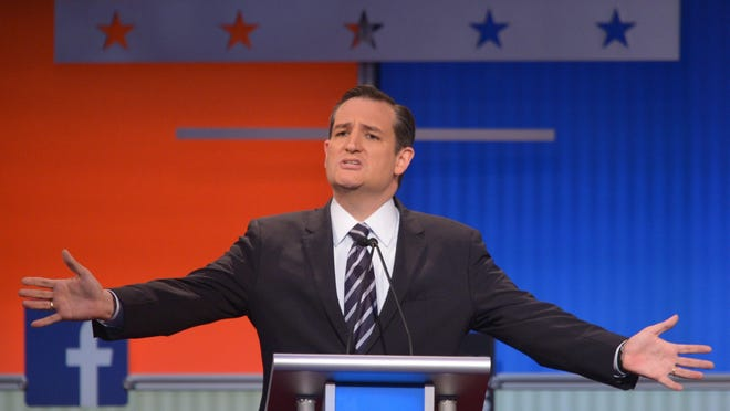 Texas Sen. Ted Cruz participates in the Republican presidential primary debate Aug. 6 in Cleveland.