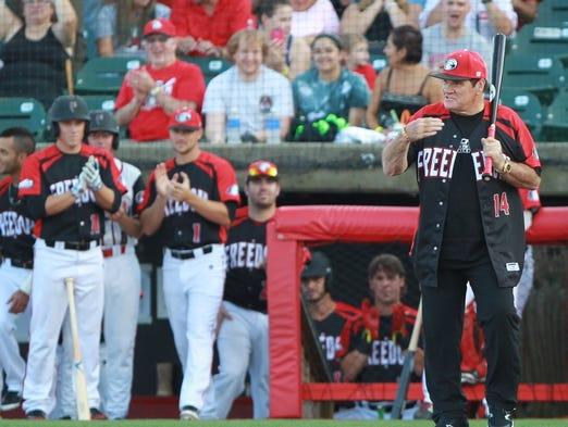 Pete Rose steps up to the plate for the Florence Freedom Tuesday.