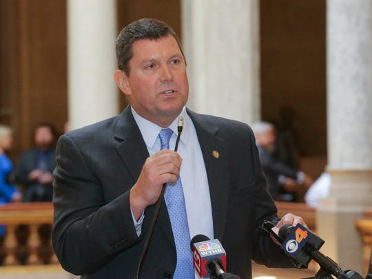 State Representative Jim Lucas speaks during a medical