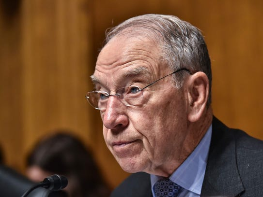Senate Judiciary Committee Chairman Chuck Grassley speaks May 16, 2018, during a committee hearing on Cambridge Analytica and data privacy  on Capitol Hill in Washington.