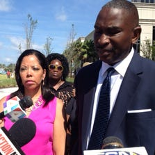Jordan Davis' parents Lucia McBath and Ronald Davis leaving the Duval County Courthouse Monday June 9.