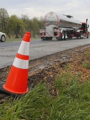 Traffic passes Monday, May 4, 2015, on Interstate 65. Construction is slated to begin at the end of May to widen I-65 from the current four lanes to six. Work will begin first on the stretch of I-65 between Indiana 25 and Indiana 26.
