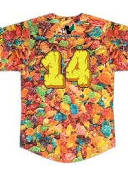 The back of the Battle Creek Bombers' special 'Fruity Pebbles' jersey.