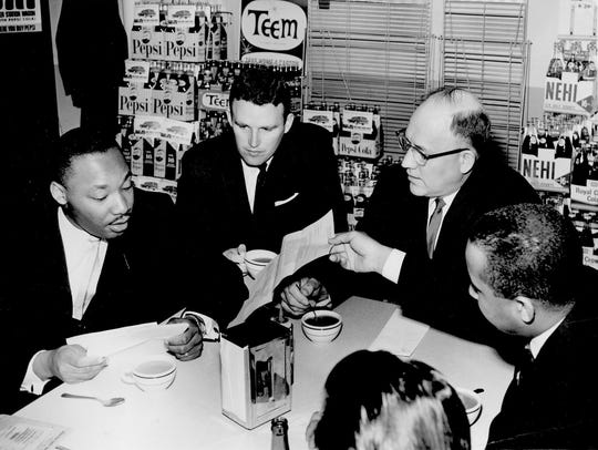 Coffee break for Dr. Martin Luther King, left, came