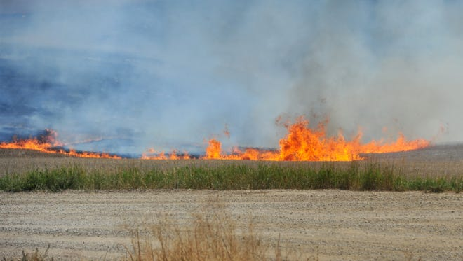 A grass fire burns at Vinyard Road and Thunder Road on Tuesday afternoon.  Several homes were threatened during the blaze.