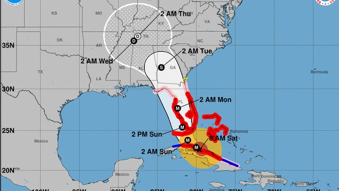 A graphic issued by the National Hurricane Center at 8 a.m. Saturday shows the position and possible track of Hurricane Irma, along with watch and warning areas.