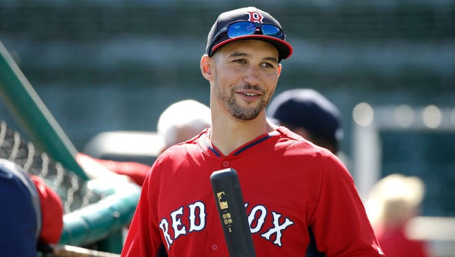 Boston Red Sox center fielder Grady Sizemore takes batting practice before an exhibition game.