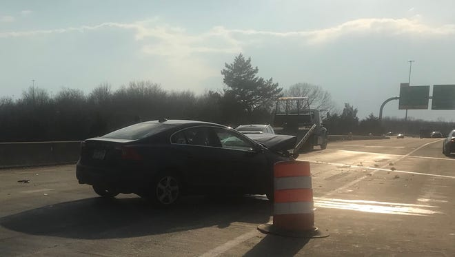 A crash closes two lanes of I-495 South on Thursday, March 15, 2018.