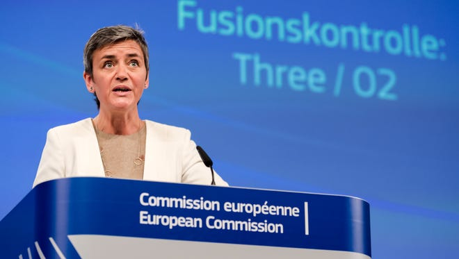 European Commissioner for Competition Margrethe Vestager addresses the media at the EU Commission headquarters in Brussels on May 11. The anti-trust watchdog is reviewing a planned merger between Dow and DuPont.