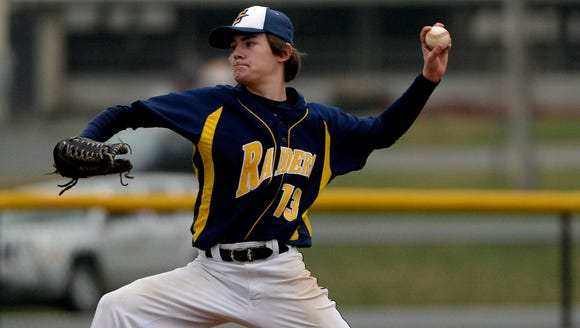 Elco's Cole Blatt delivers a pitch during a 2015 game