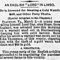 Clip from the March 2, 1891 Richmond Dispatch newspaper.