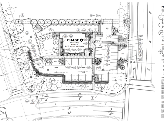 Architectural plans for the Chase Bank proposed in Estero.