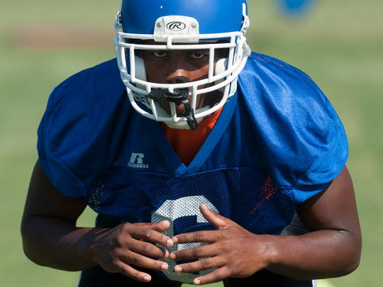 Lanier's Ladedric Jackson during football practice