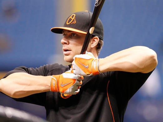 Sep 5, 2014; St. Petersburg, FL, USA; Baltimore Orioles first baseman Chris Davis (19) works out prior to the game against the Tampa Bay Rays at Tropicana Field. Mandatory Credit: Kim Klement-USA TODAY Sports ORG XMIT: USATSI-169504 ORIG FILE ID:  20140905_jla_sv7_348.jpg
