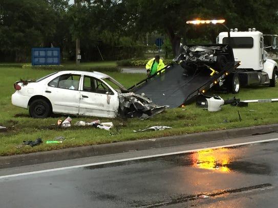 Car involved in crash Wednesday.
