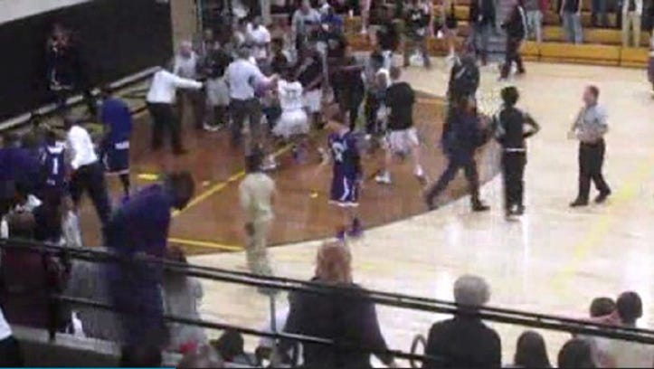 Griffith's Anthony Murphy was going in for a dunk Feb. 8, 2015 when Hammond's Tim Echoles fouled him. Then a brawl erupted.