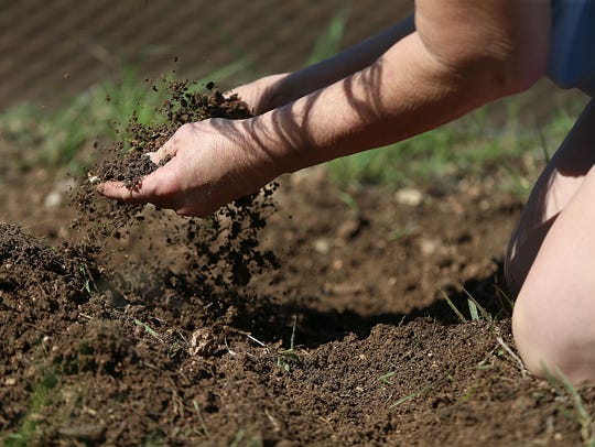 A resident shuffles through the dirt to remove weeds and rocks while installing raised garden beds for a pumpkin patch at the Concho Valley Community Corrections Facility Wednesday, May 23, 2018.