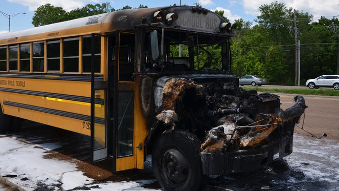 A Jackson Public School District bus caught fire Wednesday afternoon on Lakeland Drive.