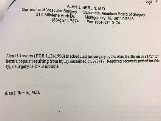 A letter from the physician of Alan Owens sent to MPS ahead of his hernia surgery.