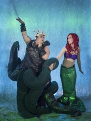 "Haleigh Cook, right, as Ariel and Ali Malingen as Ursula in Theater Arts Alliance's production of ""The Little Mermaid."" Photo taken on Tuesday, October 25, 2016."