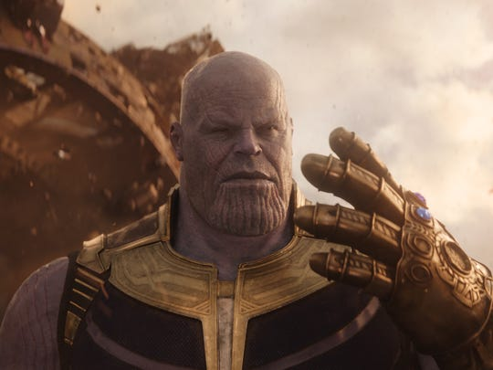 "Thanos (Josh Brolin) has two Infinity Stones in his powerful Infinity Gauntlet when he arrives on Earth in ""Avengers: Infinity War."""
