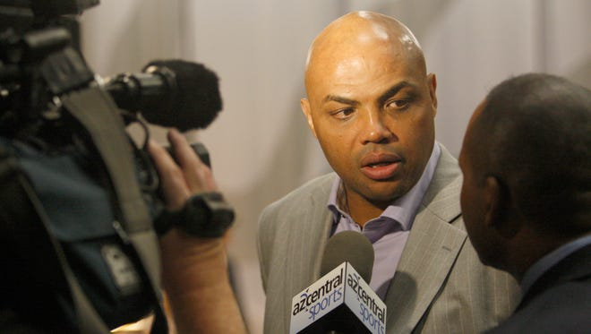 Charles Barkley talks to the media about the state of the Suns basketball team before a game against the Clippers at the US Airways Center.