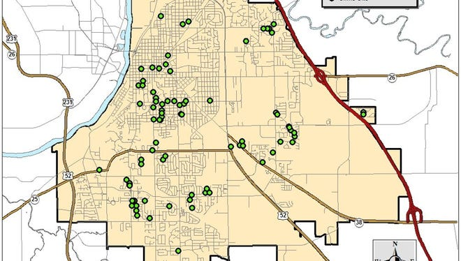 The green dots represent an incident of vandalism reported in Lafayette since Dec. 13. More vandalism has occurred outside of the city limits, stretching as far east as Mulberry.