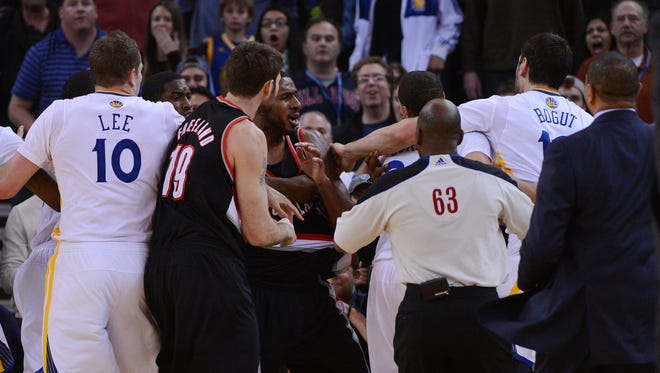 The Blazers and Warriors engaged in a full-team brawl during Saturday night's game.