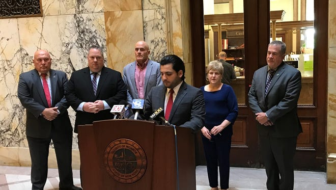 Greece Republican Brian Marianetti, majority leader of the Monroe County Legislature, is shown here at a Friday, May 25, 2018, news conference at the Monroe County Office Building.