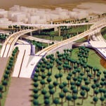 This model, looking east, shows what the Waldvogel Viaduct and part of the Sixth Street Expressway will look like when completed. River Road runs along the right side of the model and goes underneath the bridge ramp from Elberon Avenue.