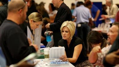 State workers file for benefits in this 2013 file photo.