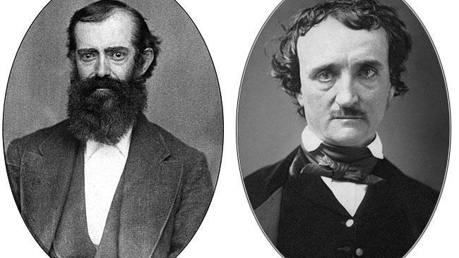Newspaper publisher Edwin Patterson, left, was just 21 when he first wrote to Poe, proposing a magazine publishing partnership, based in the village of Oquawka. Poe, photographed in 1849, would die a few months later of mysterious causes.