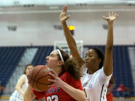 Saddle River's Michelle Sidor works under the basket with a shot. Rutgers Prep vs Saddle River Day girls basketball in NJSIAA Non-Public B Girls final in Toms River on March 10, 2018