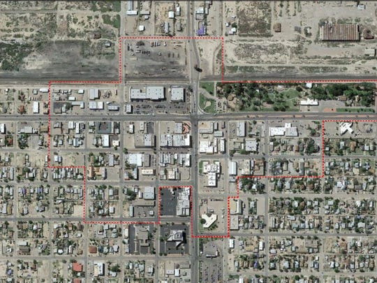 This map shows the area, centered on White Sands Boulevard and east 10th Street, in which the MRA report looked at to qualify the city for the plan.