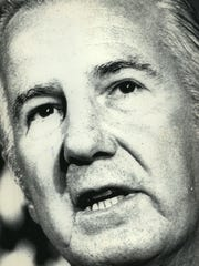In a press conference held Aug. 8, 1974, Vice President Spiro Agnew calls allegations that he took kickbacks from government contractors in Maryland.