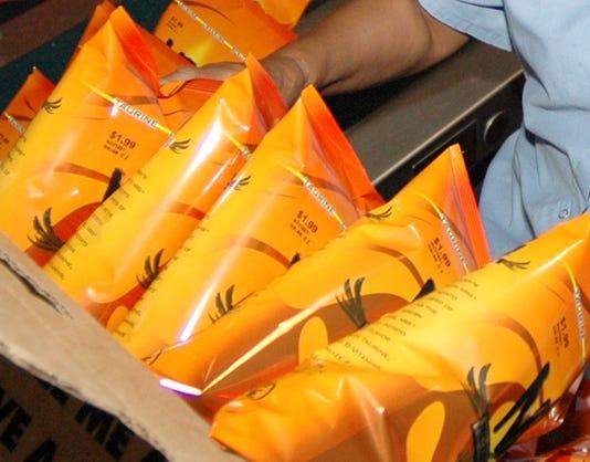 Caffeine potato chips