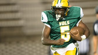Jeff Davis' Jaquan Williams (5) runs downfield during the AHSAA football game Thursday, Oct. 19, 2017, in Montgomery, Ala.